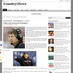 is Mike Leach necessory for Washington?