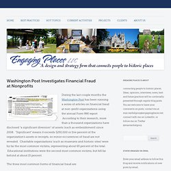 Washington Post Investigates Financial Fraud at Nonprofits