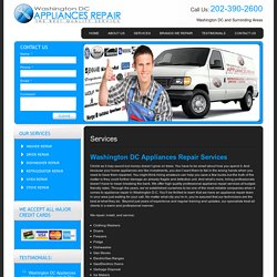 About Washington DC Appliances Repair Services: Washer Repairs, Dryer Repairs, Dishwasher Repairs