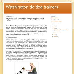 Washington dc dog trainers: Why You Should Think About Hiring A Dog Trainer With Clicker