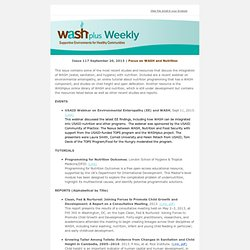 WASHplus Weekly: Focus on WASH and Nutrition