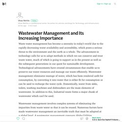 Wastewater Management and Its Increasing Importance – Medium