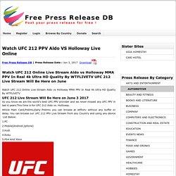 Watch Ufc 212 Ppv Aldo Vs Holloway Live Online