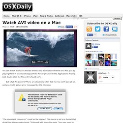 Watch AVI video on a Mac