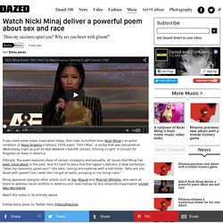Watch Nicki Minaj deliver a powerful poem about sex and race