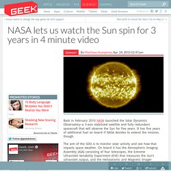 NASA lets us watch the Sun spin for 3 years in 4 minute video
