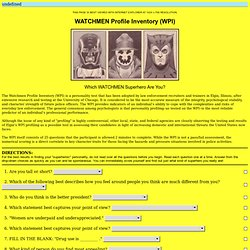 WATCHMEN Profile Inventory (WPI)