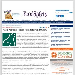 FOOD SAFETY MAGAZINE - FEV/MARCH 2001 - Water Activity's Role in Food Safety and Quality