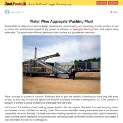Water Wise Aggregate Washing Plant