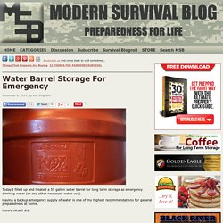 Water Barrel Storage For Emergency