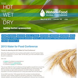 Water for Food 2013 Global Conference