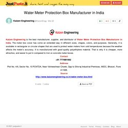 Water Meter Protection Box Manufacturer in India