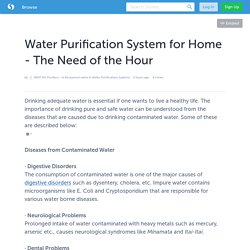 Need of Water Purifier System for Home