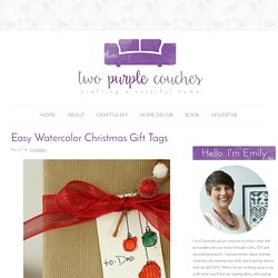 Easy Watercolor Christmas Gift Tags - two purple couches