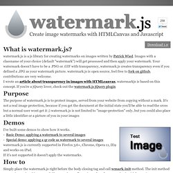 Image watermarks with HTMLCanvas and Javascript