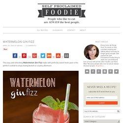 Watermelon Gin Fizz - Self Proclaimed Foodie