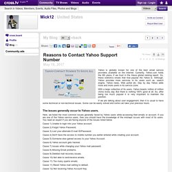 Mick Watson - Reasons to Contact Yahoo Support Number