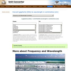 Convert gigahertz [GHz] to wavelength in centimetres [cm]