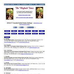 Wayback Times Show Calendar - Canada/U.S. listings