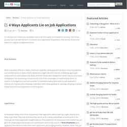 4 Ways Applicants Lie on Job Applications
