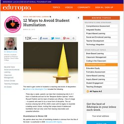 12 Ways to Avoid Student Humiliation
