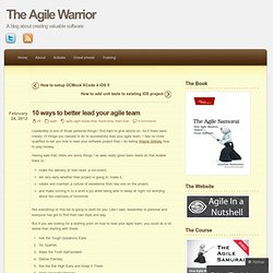 10 ways to better lead your agile team « The Agile Warrior