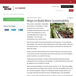 Ways to Build More Sustainability