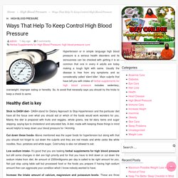 Ways That Help To Keep Control High Blood Pressure