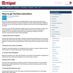 Ways to get YouTube subscribers