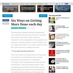 Blog Archive » Six Ways on Getting More Done each day