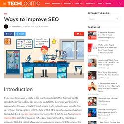 Ways to improve SEO » TechLogitic