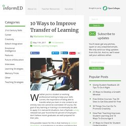 10 Ways to Improve Transfer of Learning