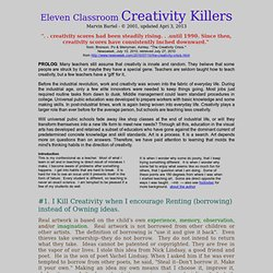 Ways not to kill classroom creativity