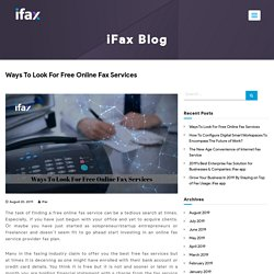 Ways To Look For Free Online Fax Services
