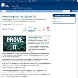6 ways to prove the value of PR
