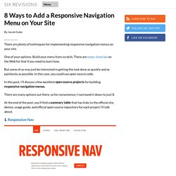8 Ways to Add a Responsive Navigation Menu on Your Site