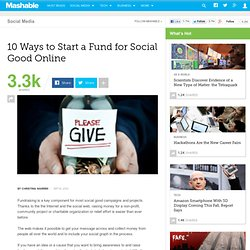 10 Ways to Start a Fund for Social Good Online