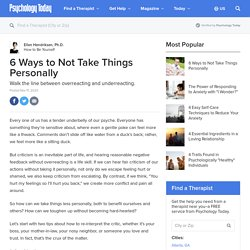 6 Ways to Not Take Things Personally