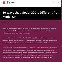 10 Ways that Model G20 Is Different from Model UN