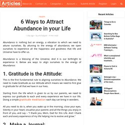 6 Ways to Attract Abundance in your Life