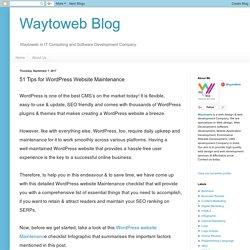 Waytoweb Blog: 51 Tips for WordPress Website Maintenance