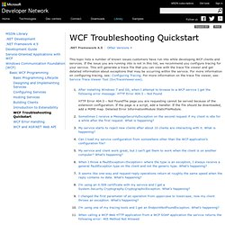 WCF Troubleshooting Quickstart