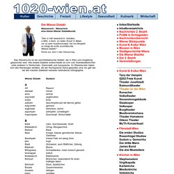 Weanarisch - Wienerisch - Wiener Dialekt - Dialektkunde