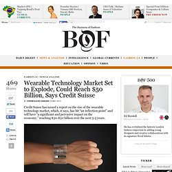 Wearable Technology Market Set to Explode, Could Reach $50 Billion, Says Credit Suisse