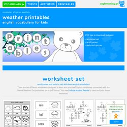 Weather Printable Worksheets for ESL Kids