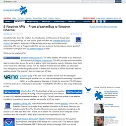 5 Weather APIs – From WeatherBug to Weather Channel