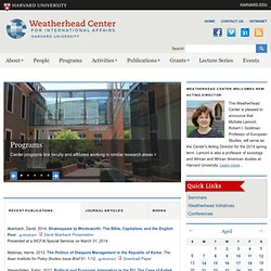 The Weatherhead Center for International Affairs