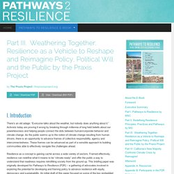 Part III.Weathering Together: Resilience as a Vehicle to Reshape and Reimagine Policy, Political Will and the Public by the Praxis Project