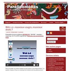 Web 2.0 : nouveaux usages, nouveaux droits