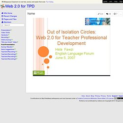 Web 2.0 for TPD » home